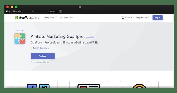 shopify affiliate app goaffpro
